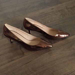 Nine West Patent Leather Copper Kitten Heels